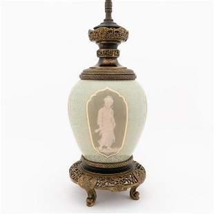 ENGLISH PATE SUR PATE PORCELAIN & BRONZE LAMP