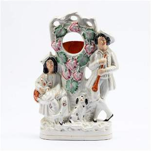 19TH C. STAFFORDSHIRE POTTERY FIGURAL WATCH HOLDER