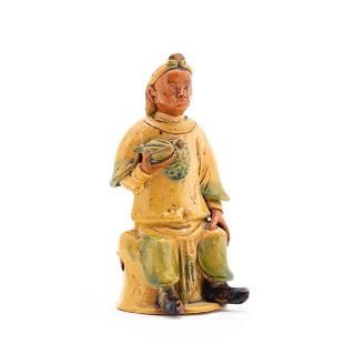 CHINESE YELLOW GLAZED SEATED MONKEY FIGURE