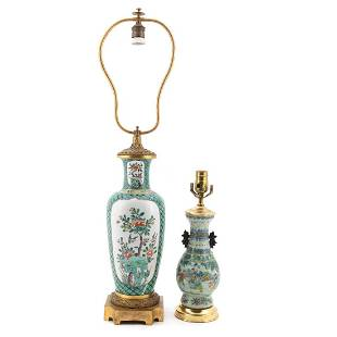 2 CHINESE FAMILLE VERTE BALUSTER FORM TABLE LAMPS