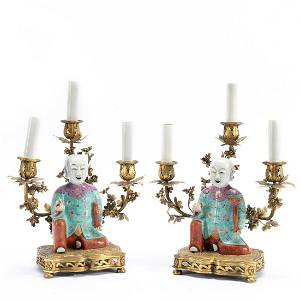 2 CHINESE LAUGHING BOYS GILT BRONZE MOUNTED LAMPS