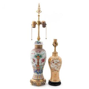 2 CHINESE URN TABLE LAMPS, FAMILLE ROSE & PEACH