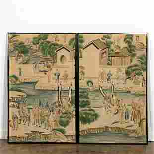 PAIR FRAMED CHINESE WATERCOLOR COURT SCENE PANELS