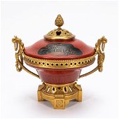 JAPANESE ORMOLU MOUNTED & RED LACQUER POTPOURRI