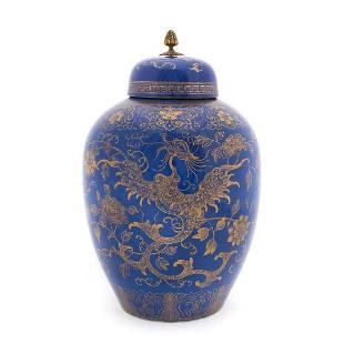PORCELAIN POWDER BLUE & GILT GINGER JAR, PHOENIX