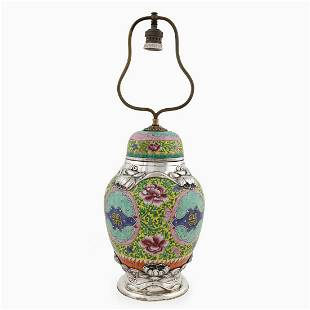 CHINESE .950 SILVER MOUNTED FAMILLE ROSE URN LAMP
