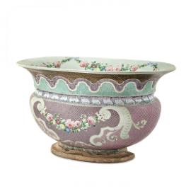 """18TH C. QING FAMILLE ROSE """"THE POTENTATE"""" BASIN"""