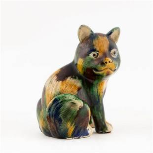 CHINESE EXPORT SANCAI GLAZED CERAMIC CAT