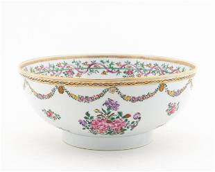 18TH C. CHINESE EXPORT FAMILLE ROSE PUNCH BOWL