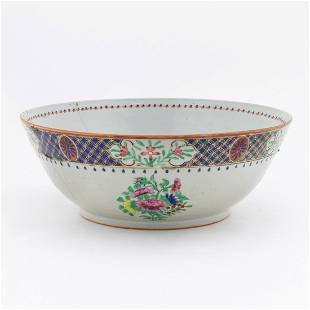 CHINESE EXPORT FLORAL FAMILLE ROSE PUNCH BOWL