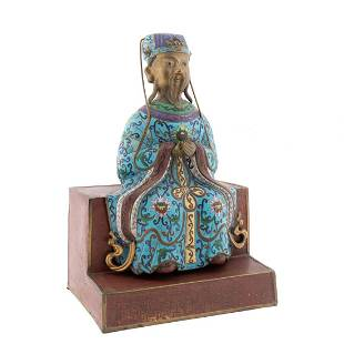 CHINESE CLOISONNE SEATED FIGURE ON BASE