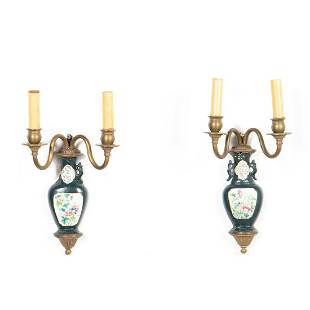 PAIR, CHINESE PORCELAIN WALL POCKET SCONCES