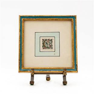 """ITALIAN ORNAMENTED """"C"""" FRAMED ON STAND"""