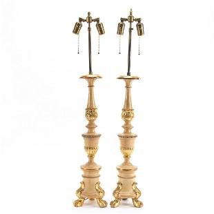 PAIR, ITALIAN PARCEL GILT TABLE LAMPS WITH SHADES