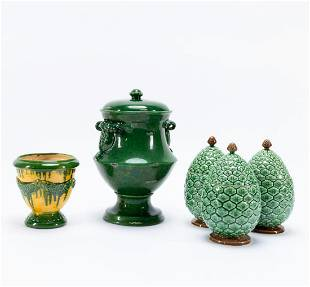 5PC, MAINLY PORTUGUESE GREEN MAJOLICA VESSELS