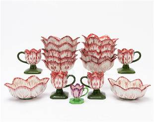 17 PCS, MOTTAHEDEH TULIP SHAPED CUPS AND BOWLS