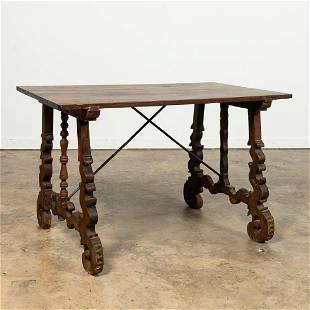18TH C. ITALIAN WALNUT BAROQUE TRESTLE TABLE