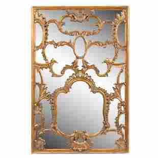 ITALIAN GILTWOOD ROCAILLE DECORATED WALL MIRROR