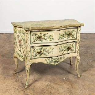 E. 20TH C. VENETIAN PAINTED TWO-DRAWER COMMODE