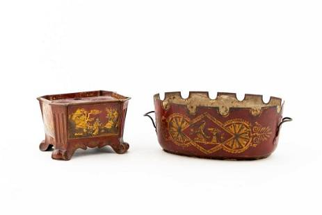 19TH C. FRENCH RED TOLE CACHE POT & ENCRIER