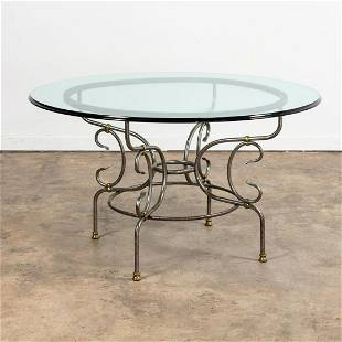 FRENCH POLISHED STEEL & BRASS GLASS DINING TABLE