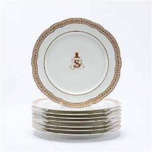 8 PCS, LEROSEY FRENCH PORCELAIN DINNER PLATES
