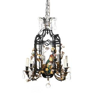 GARDEN FOLLY CHANDELIER WITH CHINESE EXPORT PARROT