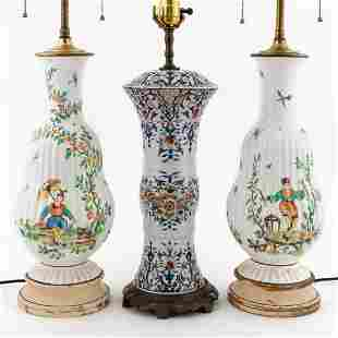 3PCS FRENCH FAIENCE TABLE LAMPS, PAIR & SINGLE