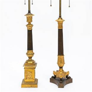 GROUP OF 2, 19TH C. FRENCH GILT BRONZE TABLE LAMPS