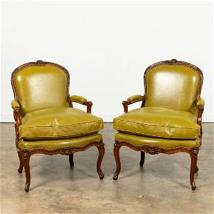 PAIR FRENCH LOUIS XV STYLE GREEN LEATHER FAUTEUILS