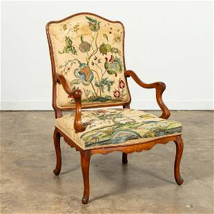 19TH C. LOUIS XV FAUTEUIL WITH CREWELWORK FABRIC