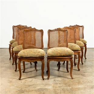 SET 8, FRENCH REGENCE STYLE CANED SIDE CHAIRS