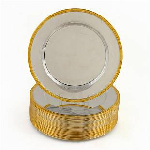 24 PCS, SILVERPLATE WITH GILT BORDER CHARGERS