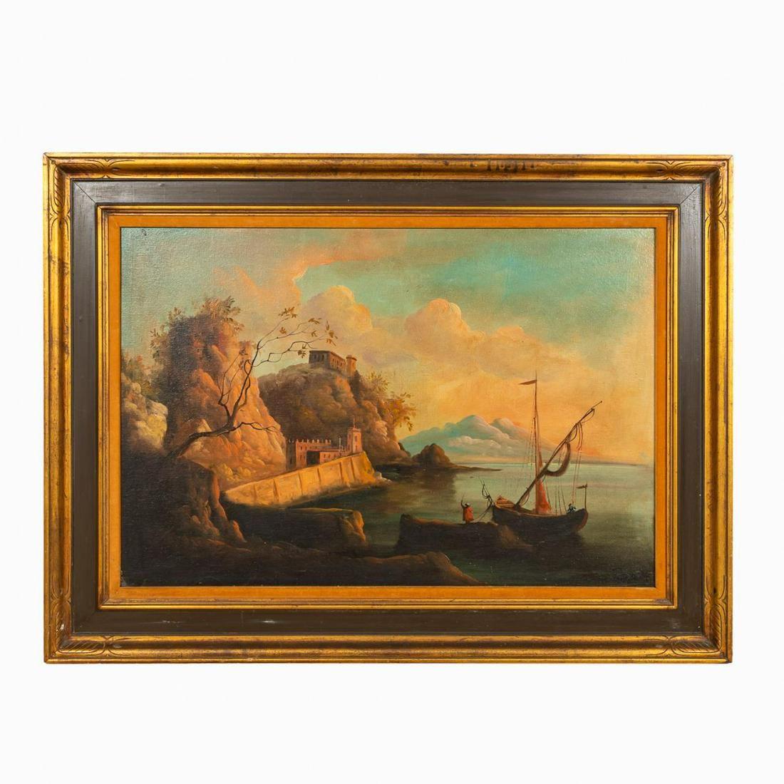 20TH CENTURY HARBOR SCENE, OIL ON CANVAS, FRAMED