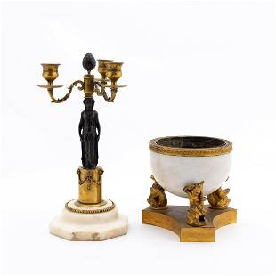 19TH C. BRONZE AND MARBLE CANDELABRUM & CACHE POT