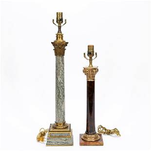 GROUP TWO, COLUMN-FORM MARBLE & STONE TABLE LAMPS