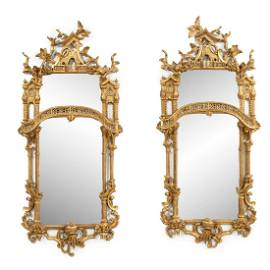 PAIR, CHINESE CHIPPENDALE STYLE GILTWOOD MIRRORS