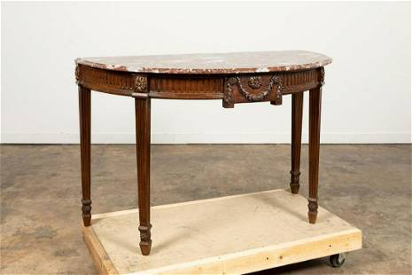 ADAMS STYLE MAHOGANY MARBLE TOP DEMILUNE CONSOLE