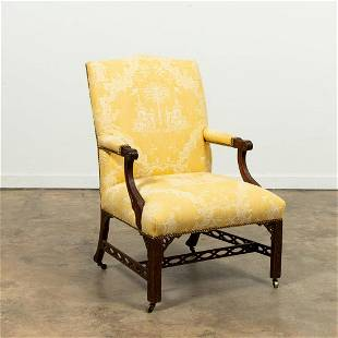 19TH C. CHINESE CHIPPENDALE ARMCHAIR, SCALAMANDRE