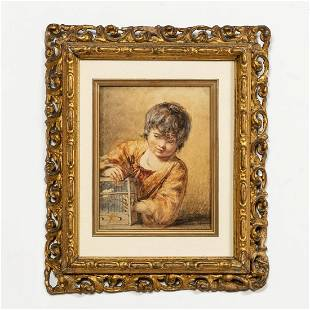 WILLIAM HENRY HUNT, CHILD WITH BIRD, WATERCOLOR