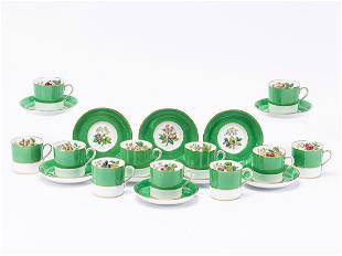 33 PCS, SPODE CUPS & SAUCERS WITH SILVER SPOONS