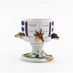MID-19TH C. CONTINENTAL PORCELAIN FOOTED HUNT CUP