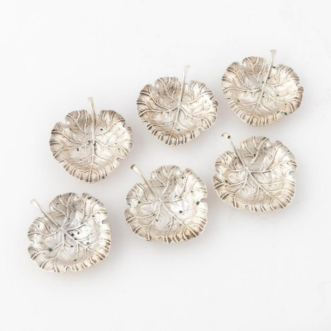 6 PC STERLING LEAF FORM NUT DISHES, UDALL & BALLOU