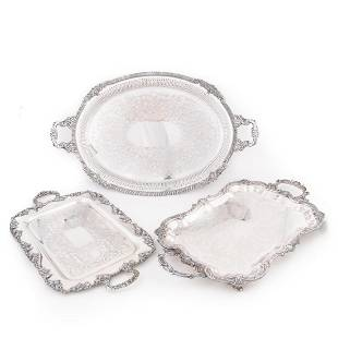 GROUP OF 3, AMERICAN SILVERPLATE HANDLED TRAYS