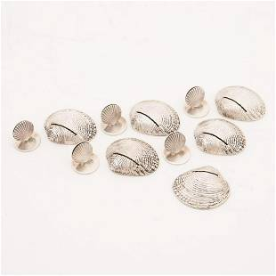 STERLING SHELL-FORM PLACE CARD HOLDERS, 11PCS