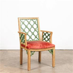 CHINESE CHIPPENDALE STYLE PARCEL GILT ARMCHAIR