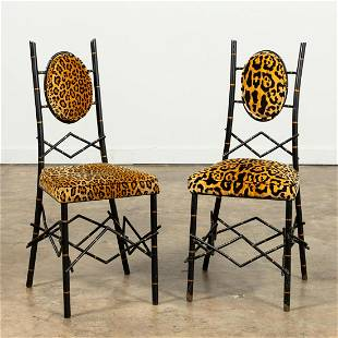 PR, WROUGHT IRON BLACK & GOLD DINETTE CHAIRS