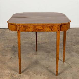 19TH C. FEDERAL HEPPLEWHITE INLAID GAMES TABLE