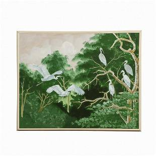 LARGE PAINTING OF CRANES BY CLIFTON, FRAMED