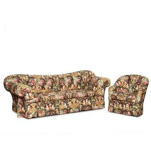 CHINOISERIE UPHOLSTERED TUFTED SOFA & CLUB CHAIR